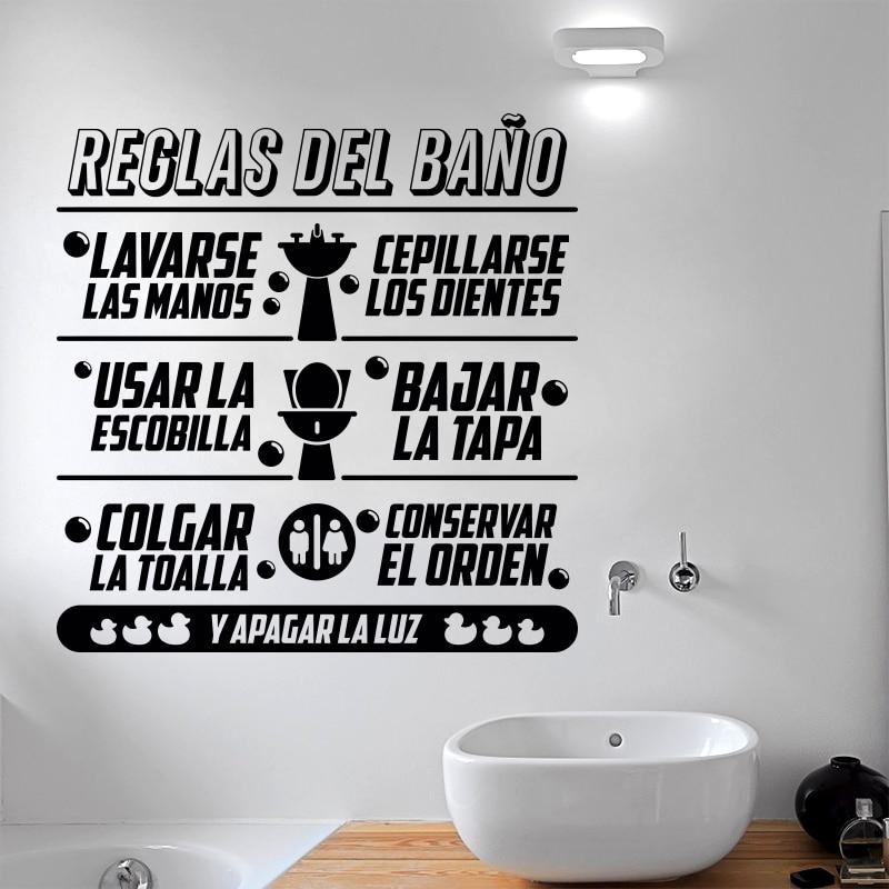 Art Design Reguli de baie în spaniolă Citat pentru copii Autocolant de perete Decor de casă Vinil Toalte Decalcomanii de perete Citate de familie pentru baie