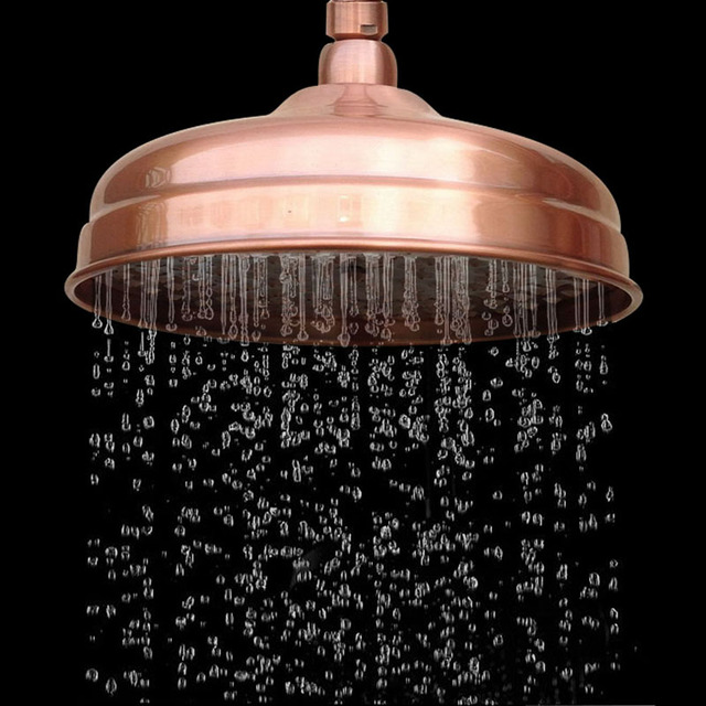 Red Antique Copper Shower Head 8 inch Round Rainfall Shower Head Bathroom Shower Head Rain Shower Ksh054