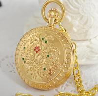Antique Retro Flower Patterns Background Roman Numerals Steampunk Mechanical Pocket Watch Full Hunter Relogio De Bolso