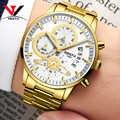 Męskie zegarki Top luksusowa marka NIBOSI Chronograph mężczyźni zegarki sportowe wodoodporny pełny stalowy zegarek kwarcowy męski Relogio Masculino