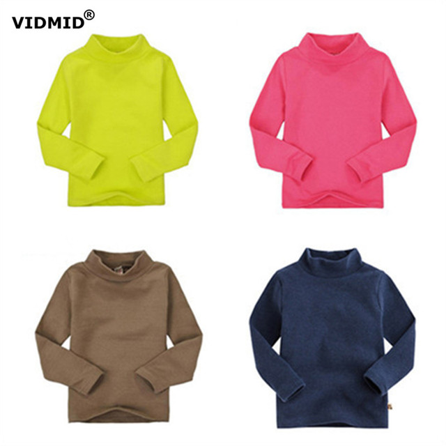 High collar boys  tees Tops Children T-shirt Baby Girl turtleneck Long sleeve t shirts solid color Blouse boys shirts 1014