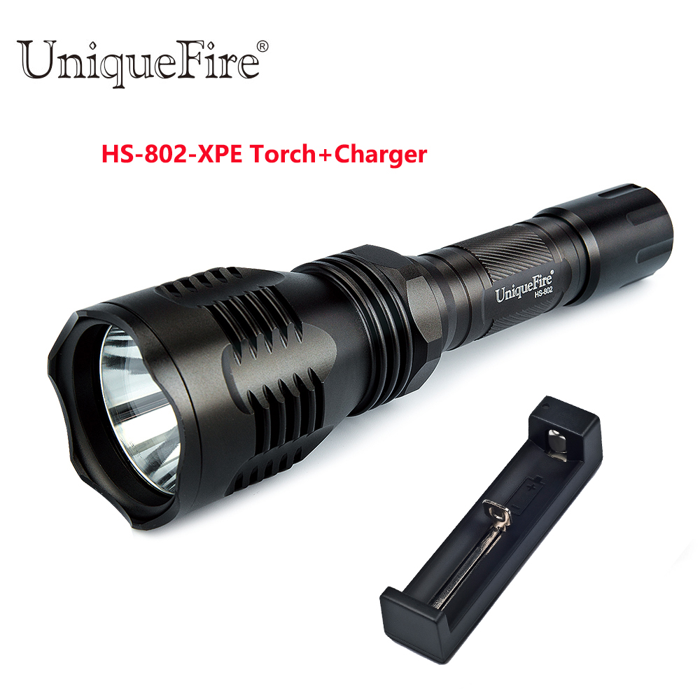 +18650 Charger Cooperative Uniquefire Hs-802 Xpe Camping Led Flashlight 3 Modes Ip65 Waterproof Lamp Torch glass Lens G/w/r Light