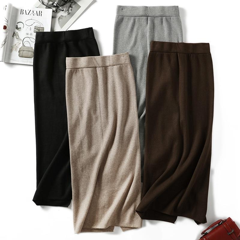 купить для женщин сплит свитер юбки длинная вязаная юбка высокая