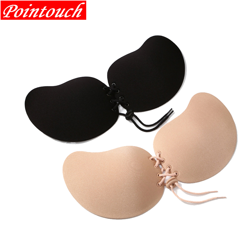 Pointouch Sexy Push Strapless Bra Women Backless Underwear Silicone Invisible Seamless Wire