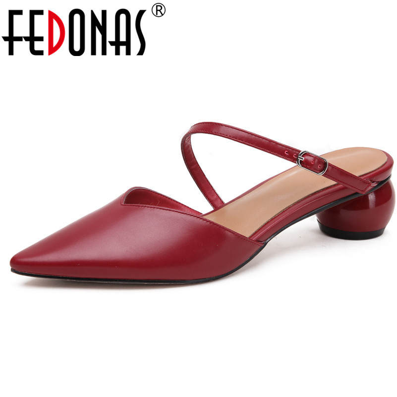 FEDONAS Women Sandals Solid Pointed Toe Genuine Leather Shoes High Heels Summer Prom Party Working Casual Basic Shoes Woman-in Middle Heels from Shoes    1