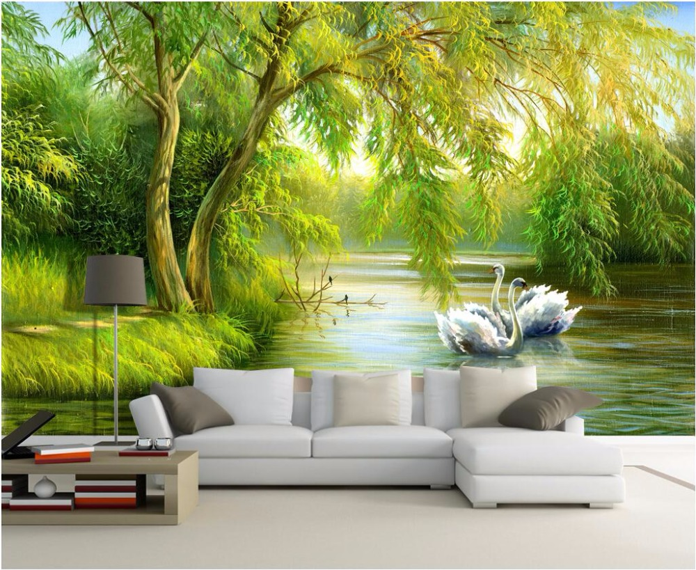 Custom Mural Photo 3d Living Room Wallpaper Swan Lake Forest Home Decor  Painting Picture 3d Wall Murals Wallpaper For Wall 3 D In Wallpapers From  Home ...