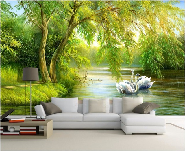 Custom Mural Photo Living Room Wallpaper Swan Lake Forest Home Decor Painting Picture Wall