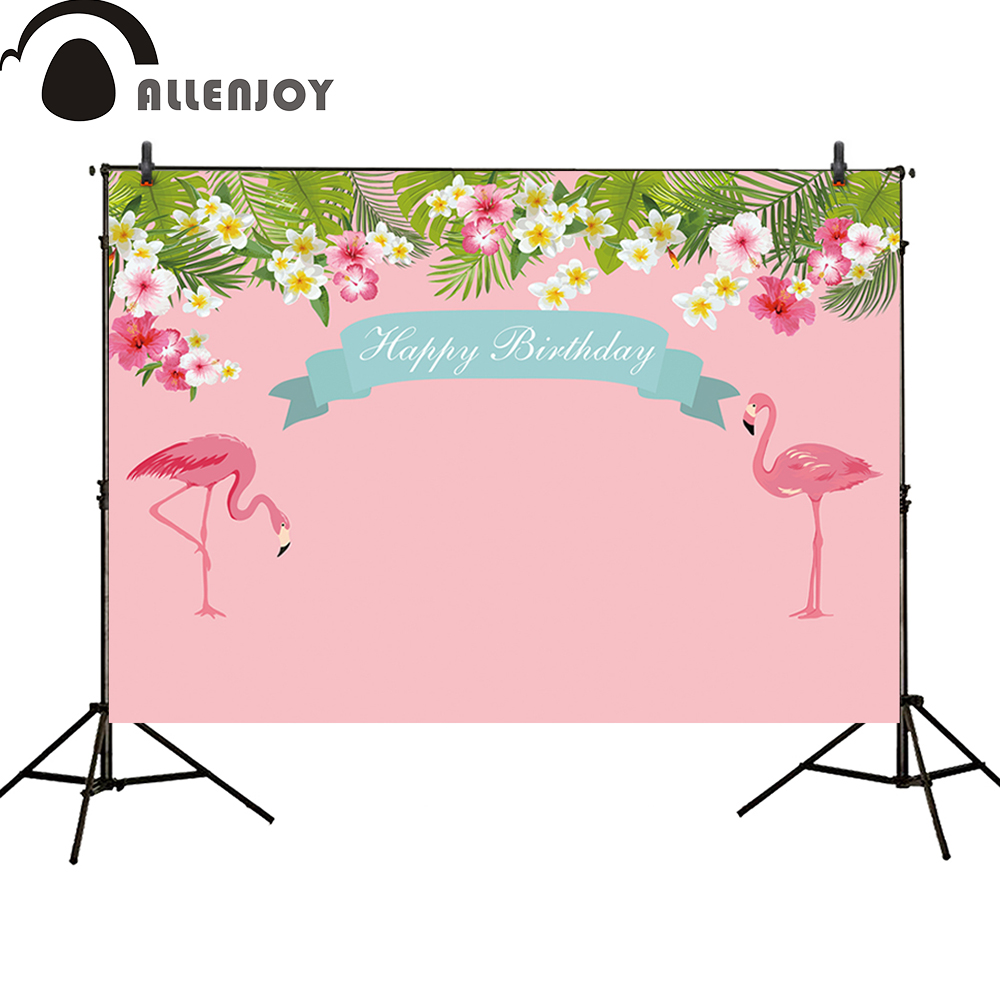 Allenjoy photography backdrop Girls Flamingo children Birthday party banner pink floral Tropical Style Beach background 8x10ft valentine s day photography pink love heart shape adult portrait backdrop d 7324