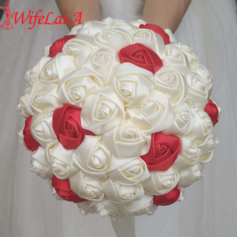 WifeLai-A Super Good 100%Handmade Ribbon Flower Wedding Bouquets Bridal Bouquet Ivory Boque Noiva Accept Your Idea Custom W223-1