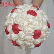 WifeLai süper iyi 100% el yapımı şerit çiçek düğün buketleri gelin buketi fildişi Boque noiva kabul senin fikrin özel W223 1
