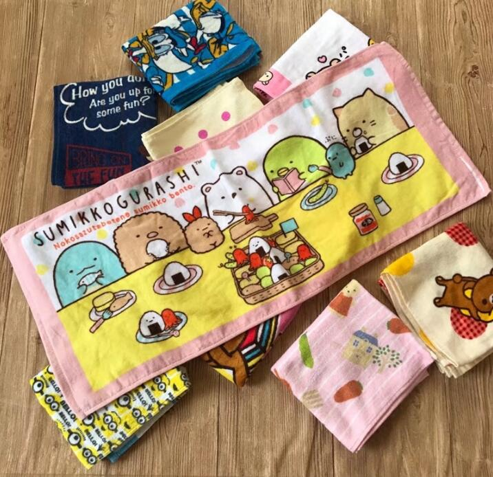 New Anime Cartoon Sumikko Gurashi Brown Bear Cotton Towels 35x75cm Printed Baby Handkerchief Children Portable Towel zakdoek