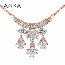 ANKA luxury rose gold color flower necklace for women top zircon CZ pendant necklace fashion jewelry accessories gift 125251 anka luxury rose gold color flower necklace for women top zircon cz pendant necklace fashion jewelry accessories gift 125251