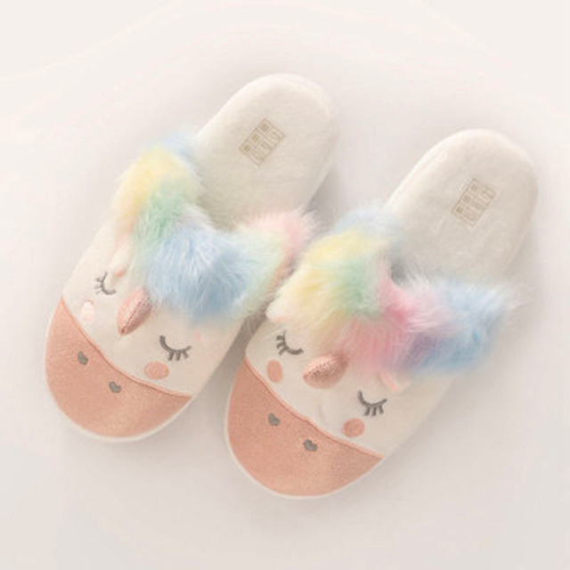f46b180377350 US $18.92 |women slippers unicorn rainbow cute animals winter fur house  shoes fashion slides indoor outdoor girls sleepers gifts Christmas-in  Slippers ...