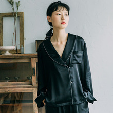 Black Home Clothes Satin Pajama Sets Silk Pajamas for Women Luxury Sleepwear Maternity Set Long Sleeve Ladies Two Piece Lingerie цены