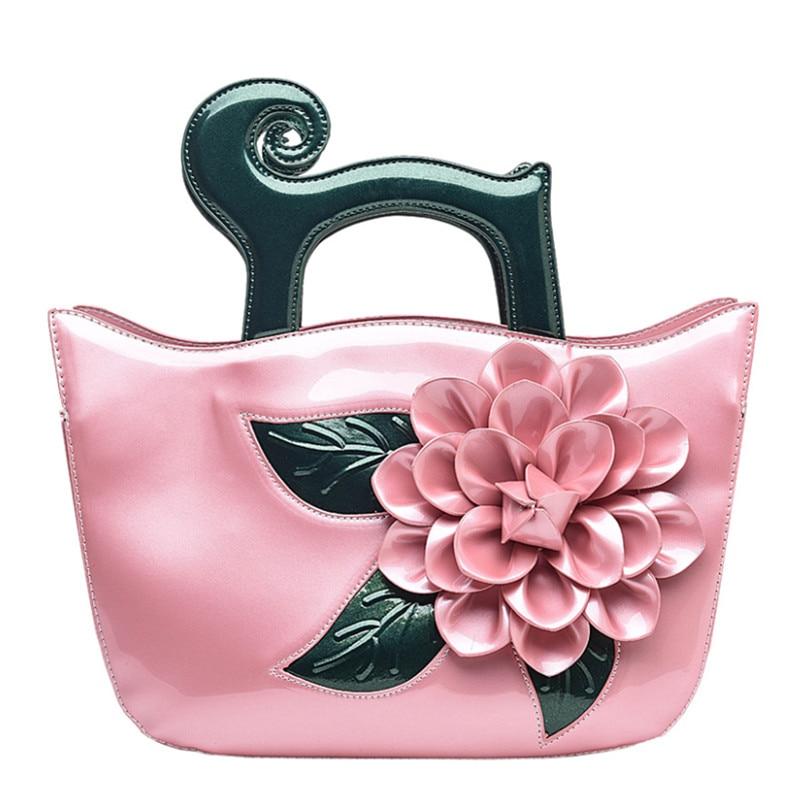 Elegant Patent Leather Women Handbag Women Shoulder Bags Classy Flower Women Leather Handbags Tote Female Women Bag Elegant patent leather handbag shoulder bag for women