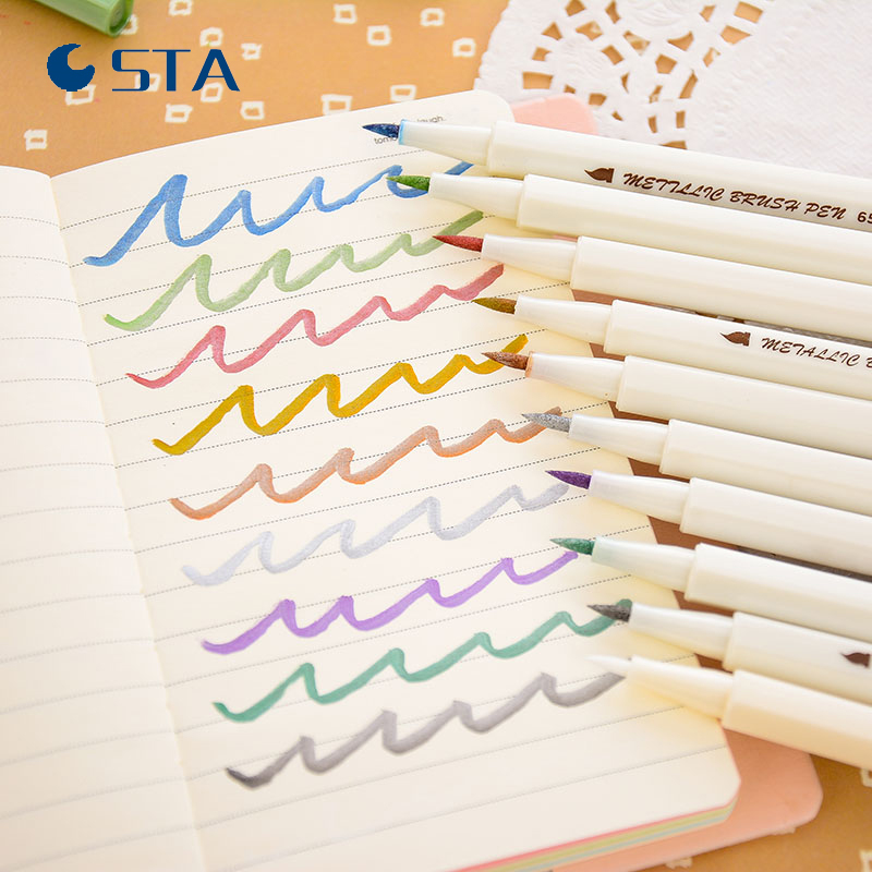 STA 10 PCS Lot Metalic Pen Marker Set Soft Hard Headed Colorful Pigment Marker Pen Paint Art Sketch Drawing Marker Pen touchnew 60 colors artist dual head sketch markers for manga marker school drawing marker pen design supplies 5type