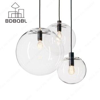 BDBQBL luces colgantes nórdicas globo lámpara de cristal bola colgante lámpara de cocina transparente accesorio de luz E27 hogar lámpara