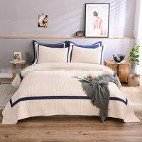 100% хлопок вышитые Полный/queen размер сплошной цвет бежевый/синий лоскутное одеяло покрывало для отеля Бесплатная доставка AL