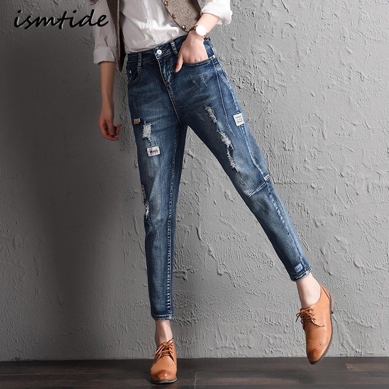 Jeans Female Casual Pants Spring Pockets Straight Jeans Ripped High Waist Drawstring Skinny Denim Women Bottom Casual Trousers flower embroidery jeans female blue casual pants capris 2017 spring summer pockets straight jeans women bottom a46