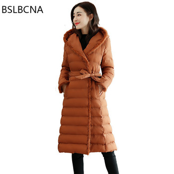 Winter Women Coat 2019 Korean Style Bodycon Elegant Down Cotton Overcoat Female Thicker Cotton Padded Clothes Long Parka A357