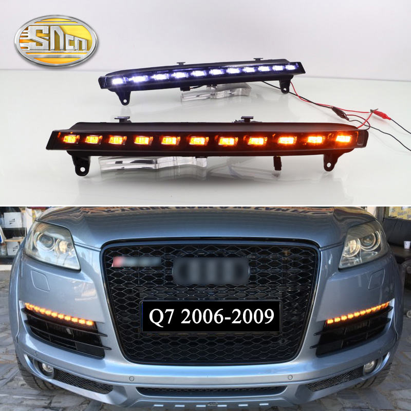 SNCN 2PCS LED Daytime Running Light For Audi Q7 2006 2007 2008 2009 Yellow Turn Signal Function 12V Car DRL Fog Lamp Decoration цена