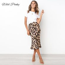 WildPinky Ruffles Leopard Summer Skirts Women NEW Sexy Boho Long Retro Casual Line High Waist Girls Midi Bodycon