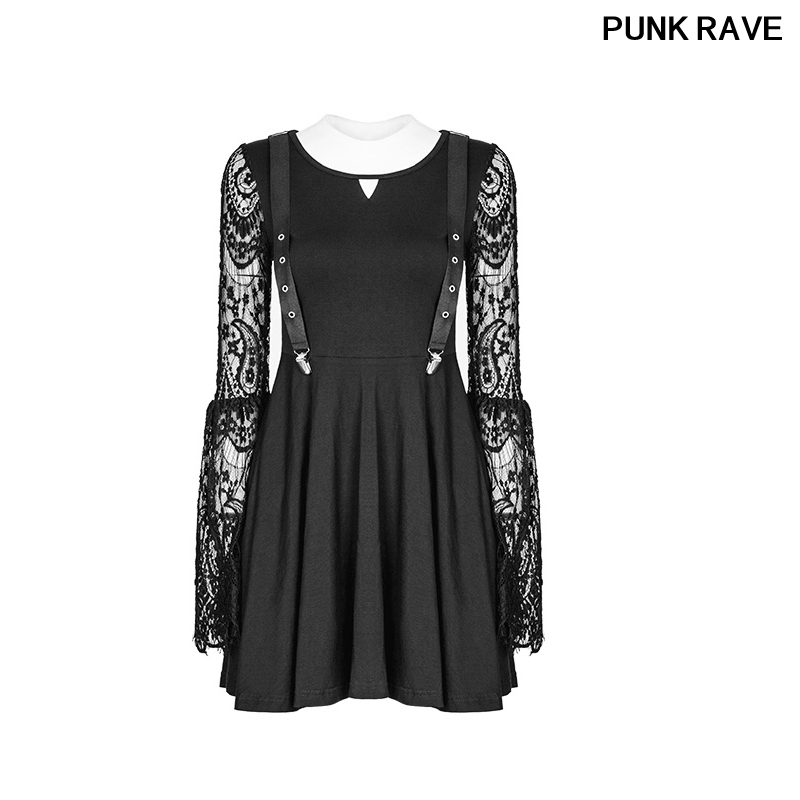 Fashion Strap Buckle Design Dress Gothic Slim Type Lace Sleeves Hollow out V Collar Fake Braces Dress PUNK RAVE OPQ 391LQF
