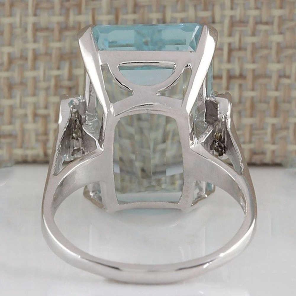 Light Blue Crystal Close แหวน Bizuteria anel เครื่องประดับสไตล์แหวน D30