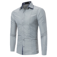 Brand 2017 Fashion Male Shirt Long Sleeves Tops Double Collar Sleeves Patch Casual Mens Dress Shirts