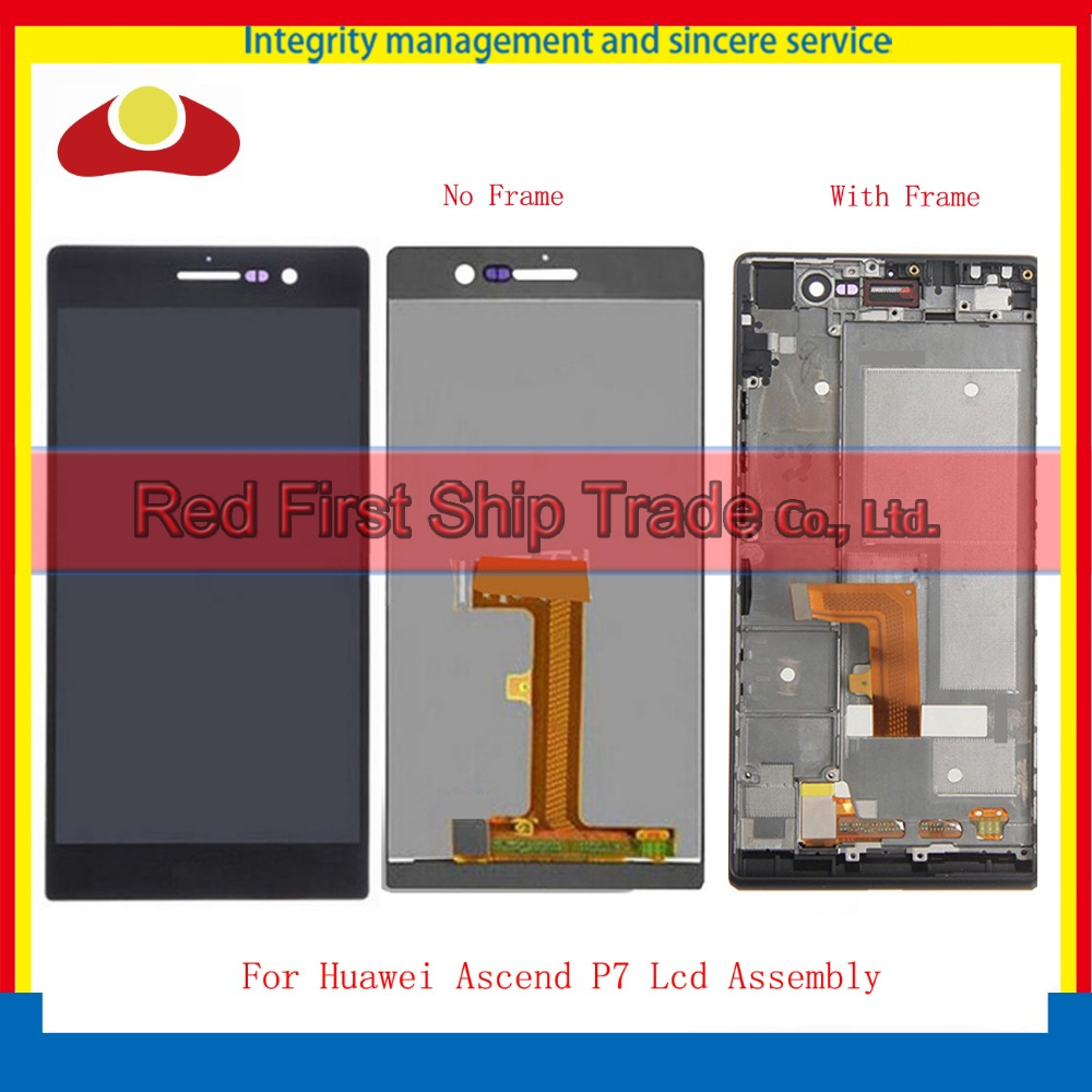 High Quality 5.0 For Huawei Ascend P7 Full Lcd Display Assembly Complete With Touch Screen Digitizer Sensor+Frame Black White yueyao lcd display digitizer touch screen assembly for huawei ascend p7 p7 l10 p7 l00 p7 l05 lcd screen aseembly