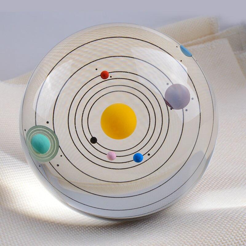 80mm Coloré Cristal Système Solaire Balle Miniature Planètes Modèle En Verre Globe Décoration Sphère Ornement Cadeau Souvenir