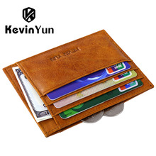 KEVIN YUN Designer Brand Card Holder Oil Genuine Leather Men Credit Case Wallet