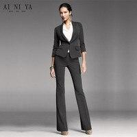 Новый Для женщин брючный костюм черный, Белый цвет полосы офис форма из двух частей дамы Бизнес костюмы женские формальные Повседневная обу