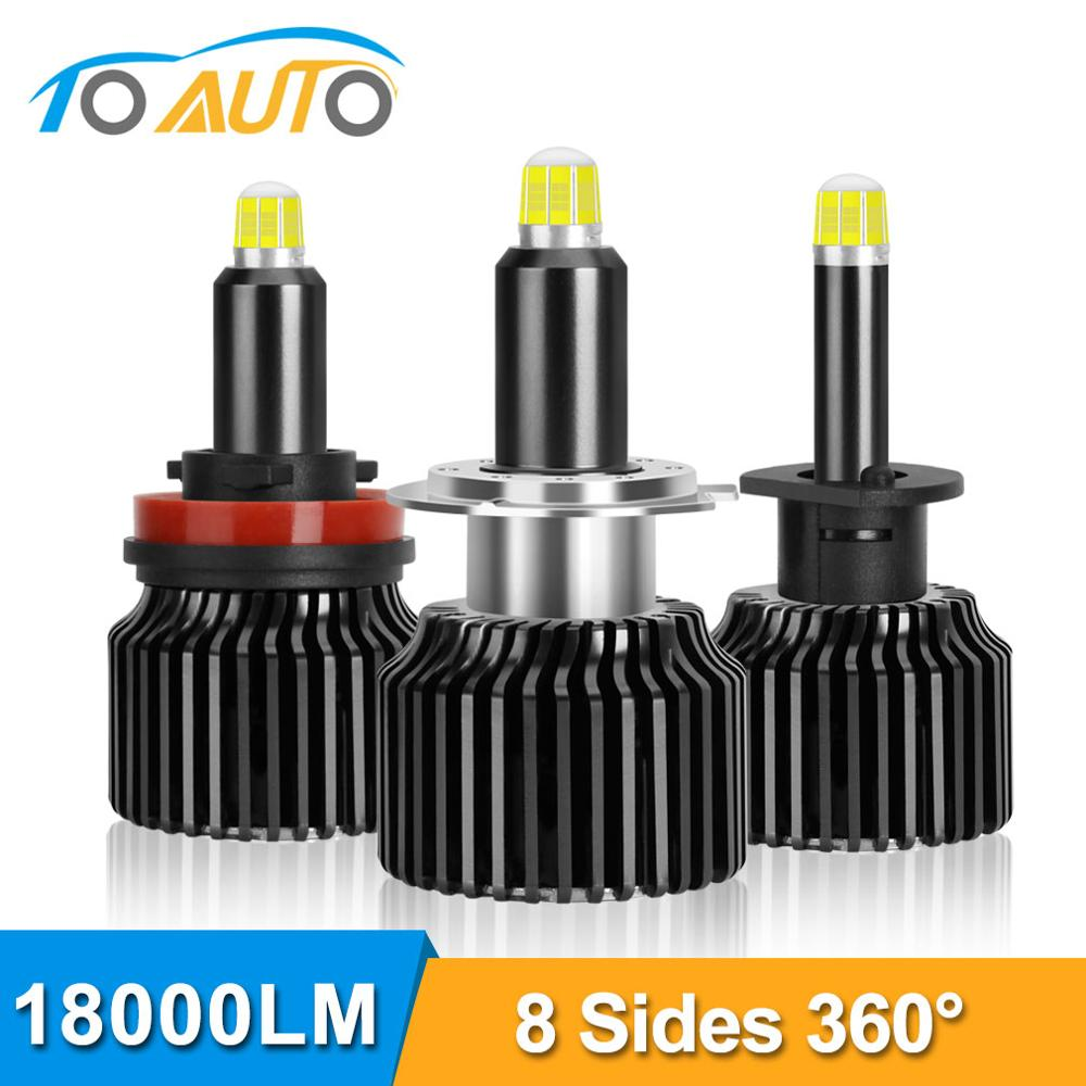2pcs H1 H7 H8 <font><b>H9</b></font> H11 9005 HB3 9006 HB4 <font><b>LED</b></font> <font><b>Canbus</b></font> Car Headlight Bulbs 6000K 50W 18000LM 8 Sides 48CSP 360° Light Auto Headlamp image