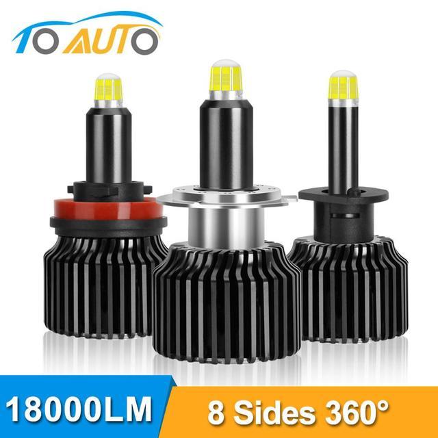 Ampoules de voiture pour phares de voiture, 2 pièces H1 H7 H8 H9 H11 9005 HB3 9006 HB4 LED Canbus 6000K 50W 18000LM, 8 côtés 48CSP 360 °