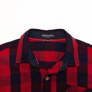 Image 5 - Freddマーシャル 2018 新到着メンズ格子縞のシャツ綿 100% 長袖カジュアルファッション社会ビジネススタイルのドレスシャツFM155