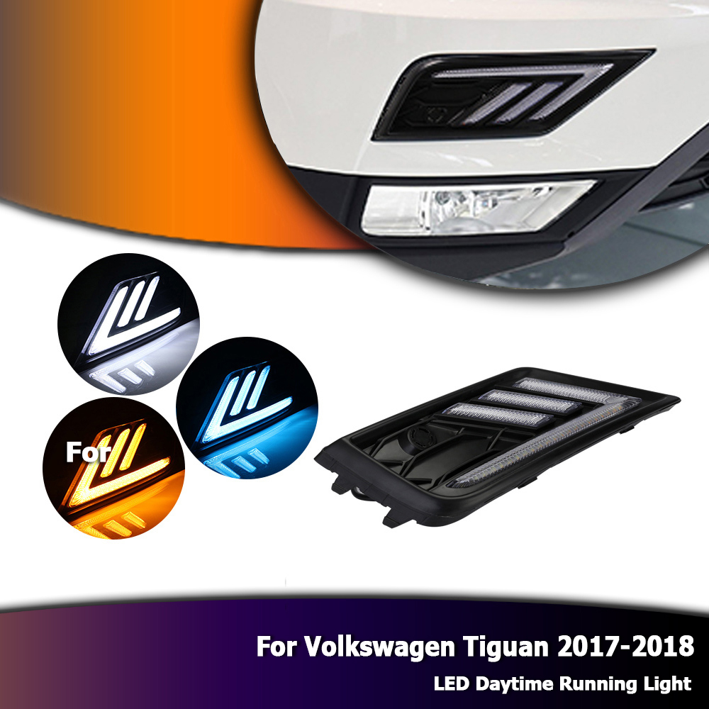 White Auto Car LED Daytime Running Lights DRL Yellow Turn Singals for VW Tiguan L 2017-2018 D35 car rear trunk security shield cargo cover for volkswagen vw tiguan 2016 2017 2018 high qualit black beige auto accessories