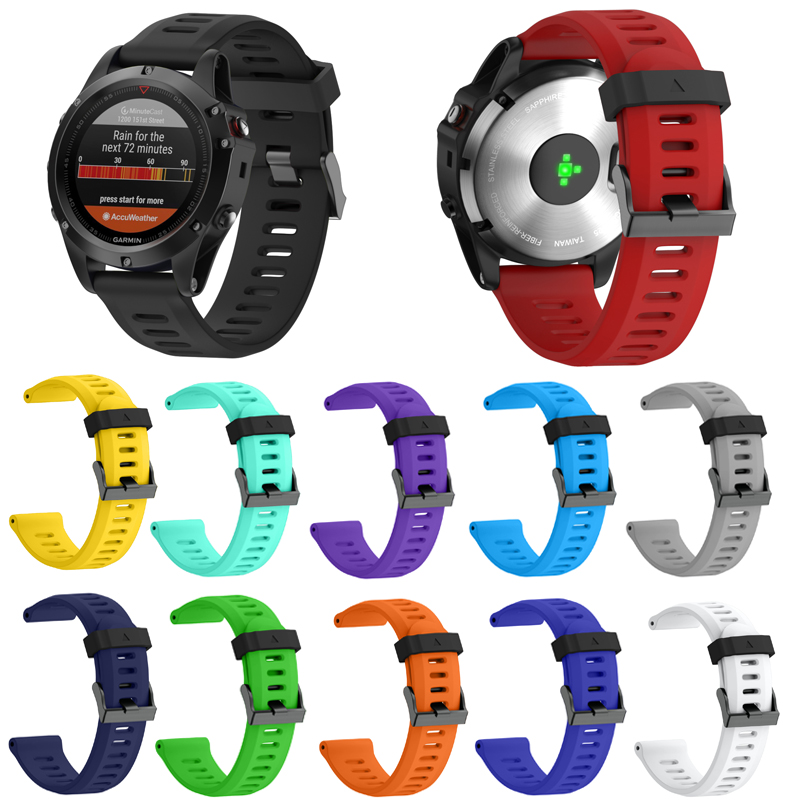26mm Width Strap- Pack of Outdoor Sport Silicone Strap for Garmin Fenix 3/Fenix 3HR/Fenix 5X for men and women popular Watchband фара fenix bc21r