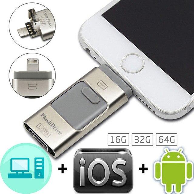 Usb OTG Flash Drive 8 GB 16 GB 32 GB 64 GB Pen drive de HD externo cartão de memória de armazenamento para iphone 6 6 s plus 5 5S ipad pendrive