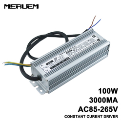 محرك إضاءة LED مقاوم للماء IP65 بقدرة 100 واط ، AC85-265V إلى DC30-36V مصدر طاقة مستمر 3000mA ، محول إضاءة خارجية للباب