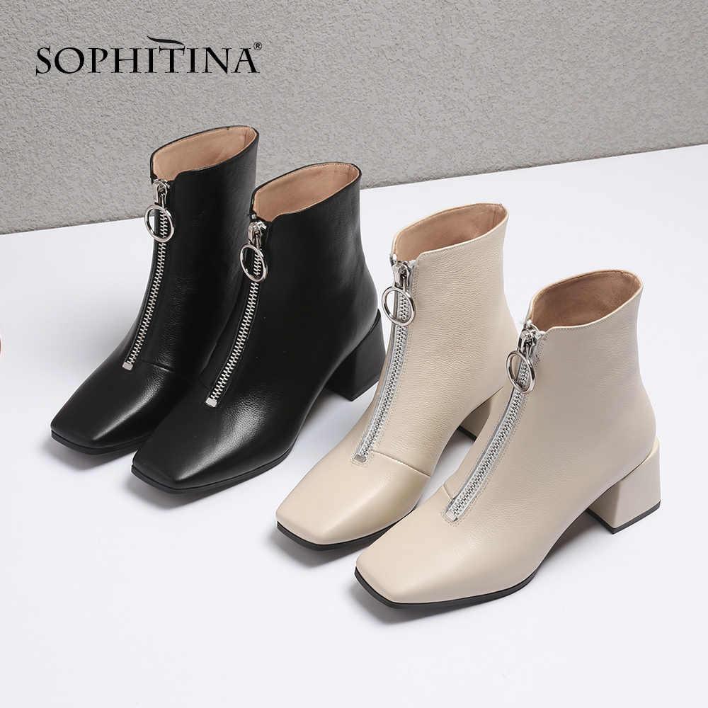SOPHITINA Yeni Moda Hakiki Deri Kare Topuk Bayanlar Çizmeler Rahat Dış Kare Ayak Ayakkabı Temel Med Topuk Kadın Botları SO221