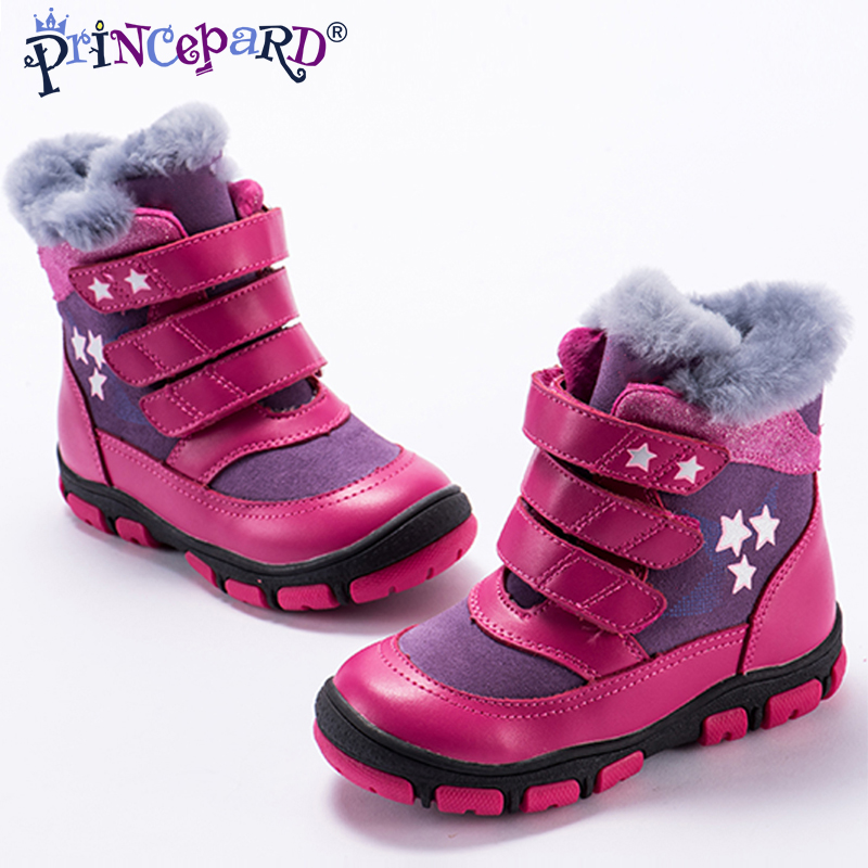 127297e8f4 Princepard 2018 winter orthopedic shoes for kids 100% natural fur lining genuine  leather orhopedic boots