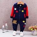 2017 Primavera Bebé Ropa para Niños Set 2 Unidades Chaqueta Encapuchada + Pant Outfit Kid Infant Toddler Ropa Niños Conjunto Deporte estrellas Carta