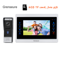 Free Shipping 720P AHD HD 10 Color Video Intercom Door Phone Record System Night Vision Outdoor