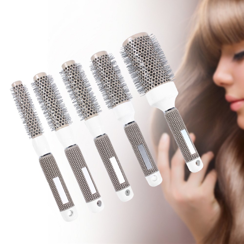 5 Sizes Hair Styling Curle Comb Salon Brushes High Temperature Resistant Hair Brush Comb Hairdressing Ceramic Iron Round Comb-in Styling Accessories from Beauty & Health