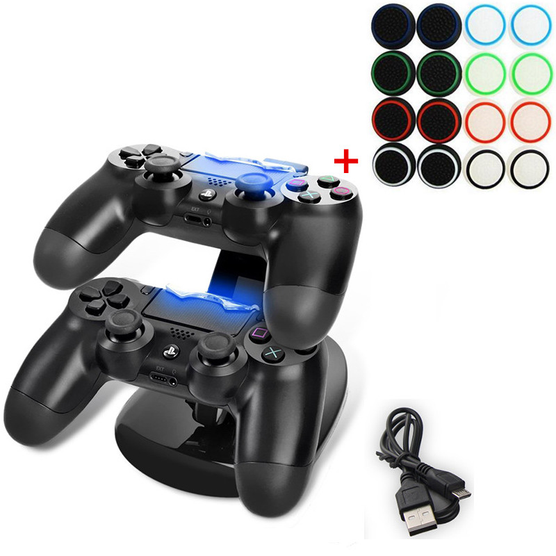 Portable LED Dual USB Charging Dock Station Stand Charger+16pcs Colorfull Thumbstick Caps for PS4 PS4 Slim PS4 Pro Controller