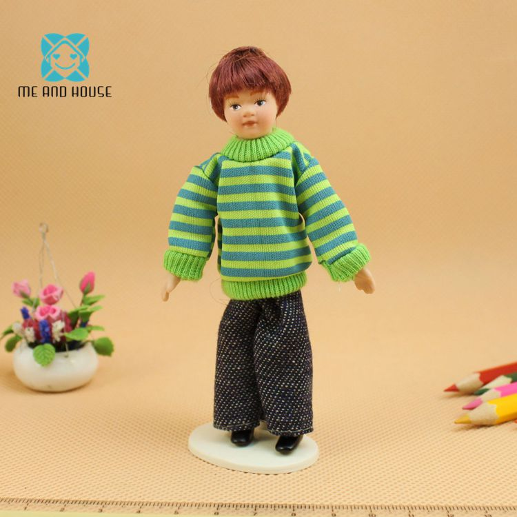 Dollhouse Miniature Porcelain Doll Male Figures Toy in Blue Sweater Decor