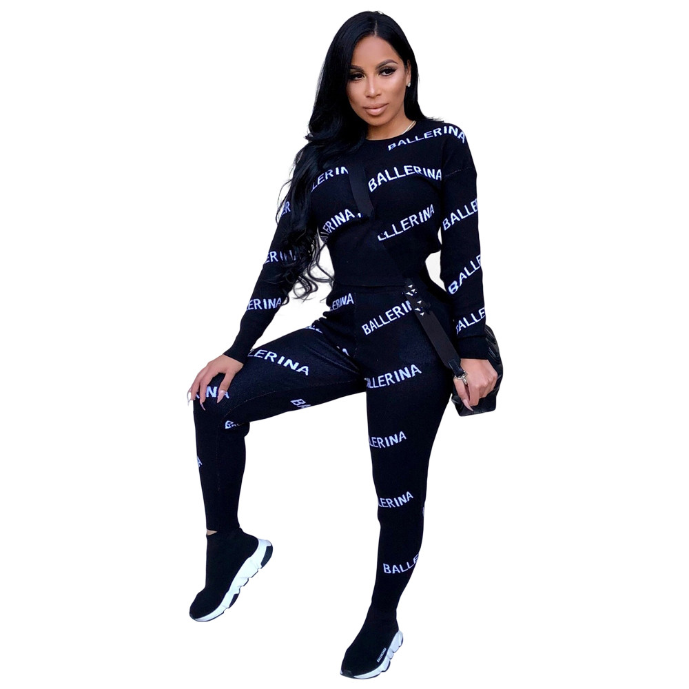 2018 Full Sleeve Winter Tracksuit Women Set O-Neck Letter Print Sporting Lady Fashion Sexy Two Pieces Suits Casual Overall K8654