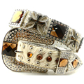 Western rodeo leather hair cowgirl brown rhinestone cross conchos bling glass shinning ladies fashion dress waist straps belt