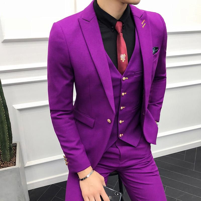 (Пиджак + жилет + брюки) мужской свадебный костюм, мужские блейзеры, приталенные костюмы для мужчин, деловой вечерний классический черный/сер... - 4